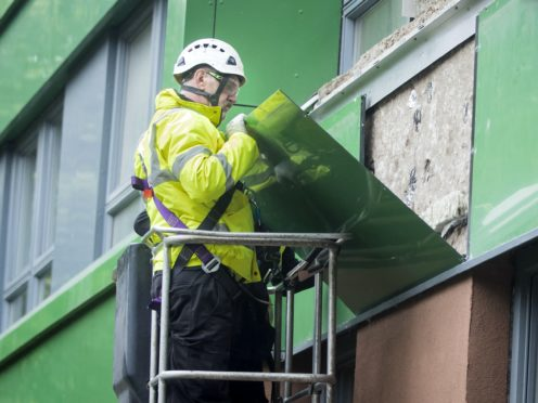 Cladding being removed from Hanover tower block in Sheffield, Yorkshire (Danny Lawson/PA)
