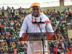 Burkina Faso President Roch Kabore at a campaign rally (Sam Mednick/AP)