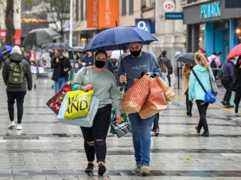 Shoppers in Cardiff city centre (Ben Birchall/PA)