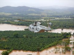 A Merlin Helicopter from 845 Naval Air Squadron conducting damage surveys in Honduras (LPhot Robert Oates/PA)