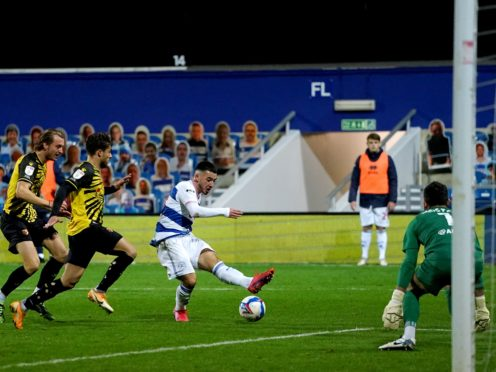 Ilias Chair, centre, scores QPR's equaliser (Tess Derry/PA)