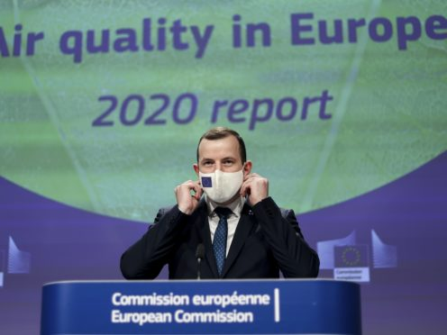 European Commissioner for Environment and Oceans Virginijus Sinkevicius speaks during a media conference on the air quality in Europe (Kenzo Tribouillard, Pool via AP)