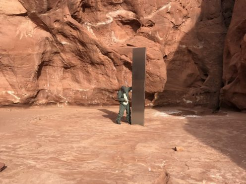 The metal monolith in Utah, which has since disappeared (Utah Department of Public Safety)