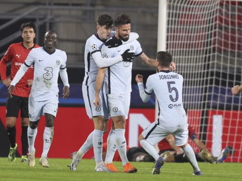 Olivier Giroud celebrates his winner in France (David Vincent/AP)