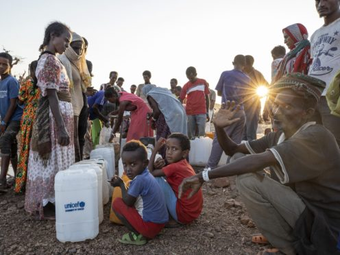 Refugees who fled the conflict in Ethiopia's Tigray region in Qadarif, eastern Sudan (Nariman El-Mofty/AP)