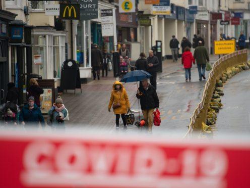 Shoppers in Stratford-upon-Avon in Warwickshire (Jacob King/PA)