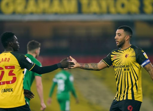 Troy Deeney (right) struck Watford's second from the spot (Tess Derry/PA)
