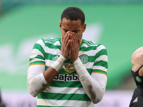 Celtic's Christopher Jullien reacts during their defeat by Ross County (Jeff Holmes/PA)