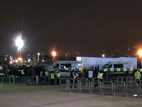There was a heavy police presence outside Celtic Park (Gavin McCafferty/PA)