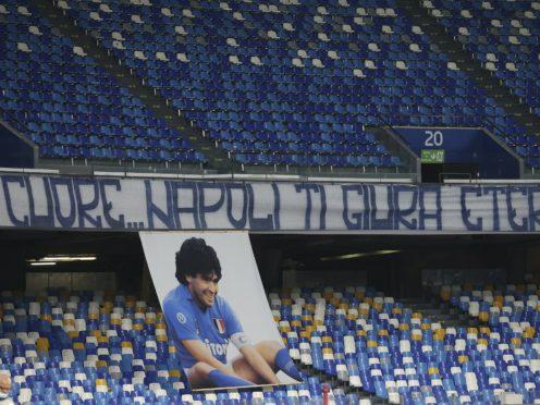 Napoli remembered Diego Maradona at their Serie A match against Roma (Alessandro Garofalo/LaPresse via AP)