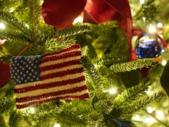 Ornaments hang from a tree during the 2020 Christmas preview at the White House, Monday, Nov. 30, 2020, in Washington. (AP Photo/Patrick Semansky)