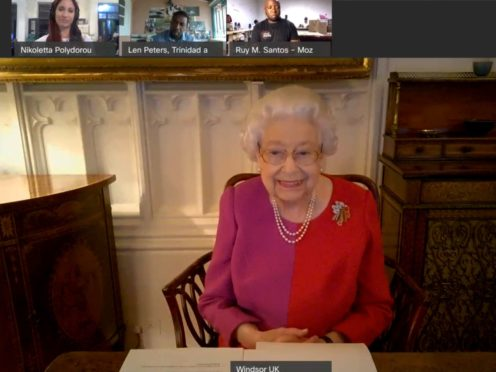The Queen speaks via a video call with Commonwealth Points of Light award recipients (Buckingham Palace/PA)