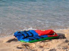 Life jackets litter the beach off the coast of Libya near the port of al-Khums (Hussein Ben Mosa/ IOM 2020 via AP)