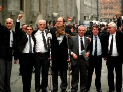 The Birmingham Six outside the Old Bailey in London after their convictions were quashed (Sean Dempsey/PA)
