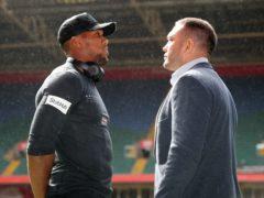 Anthony Joshua, left, and Kubrat Pulev were originally set to clash in Cardiff three years ago (Nick Potts/PA)