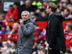 The last time Jose Mourinho met Liverpool manager Jurgen Klopp at Anfield he was sacked as Manchester United boss two days later (Martin Rickett/PA)