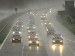 Heavy rain causes difficult driving conditions on the M5 near Cullompton in Devon.