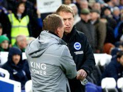 Brighton manager Graham Potter, right, knows Leicester will provide another stern Premier League test (Gareth Fuller/PA)