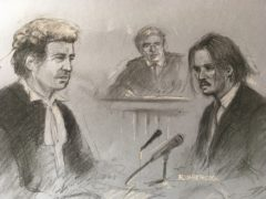 Court sketch of Johnny Depp being questioned by David Sherborne (Elizabeth Cook/PA)