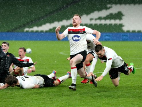 Sean Hoare, centre, knows Dundalk have their work cut out in Molde (Brian Lawless/PA)
