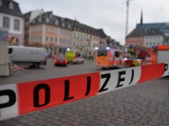 A square is blocked by the police in Trier, Germany (Harald Tittel/AP)