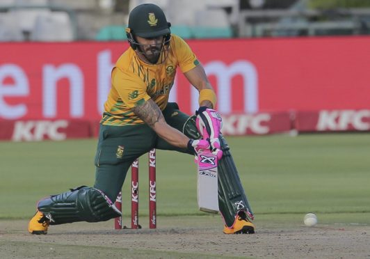 Faf Du Plessis (pictured) shared a great partnership with Rassie van der Dussen (AP Photo/Halden Krog)