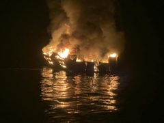 The dive boat Conception is engulfed in flames after a deadly fire broke out aboard the commercial scuba diving vessel off the Southern California Coast (Santa Barbara County Fire Department/AP)