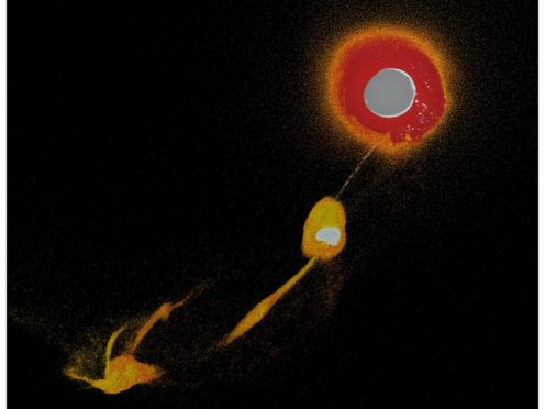 A 3D simulation investigating how a collision between the early-Earth and a Mars-size object might have led to the formation of the moon (Sergio Ruiz-Bonilla)