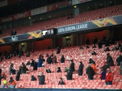 Arsenal supporters returned to the Emirates Stadium for the first time in nine months to watch their win over Rapid Vienna. (Adam Davy/PA)
