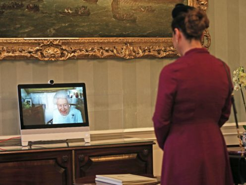 Queen holds a virtual audience with Sophie Katsarava, the Ambassador of Georgia (Yui Mok/PA)