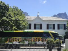 The South Africa team parked outside The Vineyard Hotel in Cape Town, where the South Africa and England teams are staying (Halden Krog/AP).