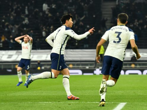 Son Heung-min celebrates in front of the watching Tottenham fans (Glyn Kirk/PA)