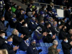 Brighton fans in the stands before a Premier League match at the Amex (Naomi Baker/PA)