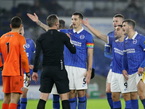 The Brighton players were left less than impressed when a VAR review gave Southampton a late penalty at the AMEX Stadium (Gareth Fuller/PA)