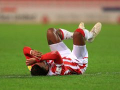 Stoke City's Tyrese Campbell picks up an injury during the Sky Bet Championship match with Cardiff (Mike Egerton/PA)