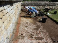 A mosaic unearthed at the Roman villa in Chedworth, Gloucestershire (National Trust/PA)