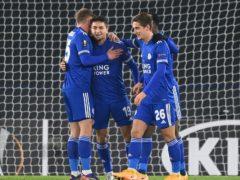Leicester's Cengiz Under celebrates his opener against AEK Athens (Michael Regan/PA)