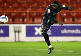 Brentford's Josh Dasilva scores his side's second goal of the game during the Sky Bet Championship match at the City Ground, Nottingham.