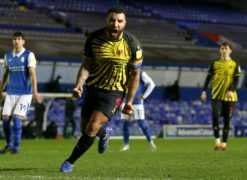 Watford captain Troy Deeney celebrates after firing home a late penalty to secure a 1-0 win away to Birmingham (Barrington Coombs/PA Images).