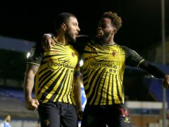 Watford's Troy Deeney (left) celebrates scoring a late penalty winner against Birmingham with team-mate Nathaniel Chalobah (Barrington Coombs/PA Images).