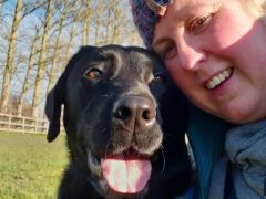 Victoria the retired guide dog with new owner Kirsty Halford (Thames Water/PA)