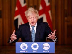 Prime Minister Boris Johnson during a media briefing (Tolga Akmen/PA)
