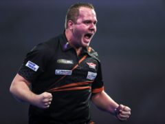 Dirk Van Duijvenbode celebrated a memorable victory at Alexandra Palace (Kieran Cleeves/PA)