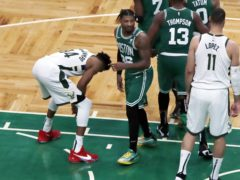 Milwaukee Bucks' Giannis Antetokounmpo missed his second free throw (Michael Dwyer/AP)