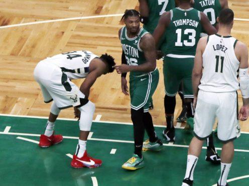 Milwaukee Bucks' Giannis Antetokounmpo missed his second free throw (Michael Dwyer/AP)