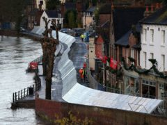 Flood defences have been installed in Ironbridge, Shropshire, ahead of Storm Bella (Nick Potts/PA)