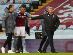 Dean Smith, right, watched Aston Villa win 3-0 on Boxing Day (Catherine Ivill/PA)
