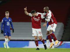 Arsenal midfielder Granit Xhaka scored a fine free-kick just before half-time (Andrew Boyers/PA)