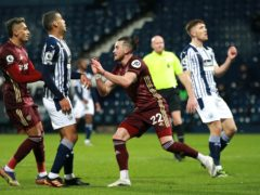 Jack Harrison celebrates his goal as Leeds ran riot at West Brom (Dave Rogers/PA)