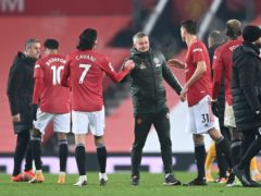 Manchester United celebrated a late win over Wolves on Tuesday that moved them up to second in the table (Laurence Griffiths/PA)